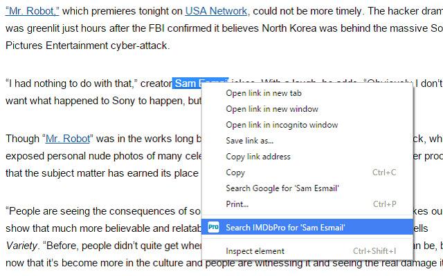 Right-Click Search IMDbPro