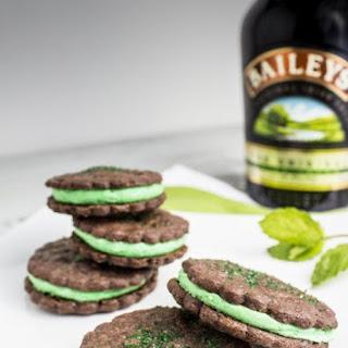 Leprechaun Patties (Baileys Chocolate Mint Filled Sable Cookies).