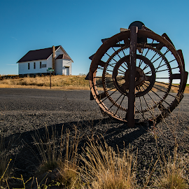 Rural mailbox and grange hall by Laddy Kite - Artistic Objects Industrial Objects