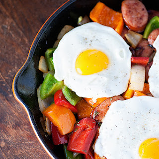 Smoked Sausage Hash with Fried Eggs.