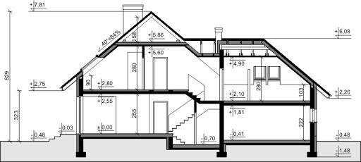 Dom przy Cyprysowej 38 - Przekrój