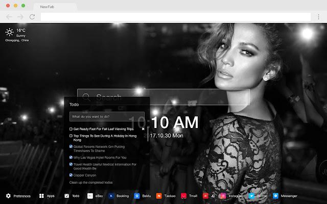Jennifer Lopez Pop Star HD New Tabs Theme