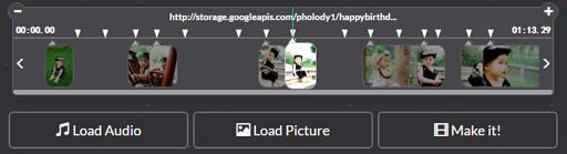 Timeline of photo slideshow editor, after image allocation