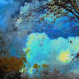 Sun in Sky by Edward Gold - Digital Art Places ( artistic objects, digital photography, light blue, yellow, cloudscape, trees, digital art, dark blue,  )