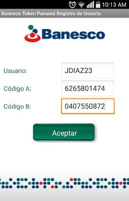 Banesco Token Panamá - screenshot