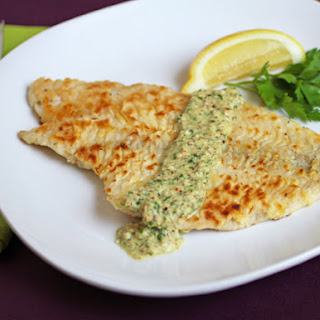 Pan-Fried Tilapia with Almond, Parsley, Lemon Sauce