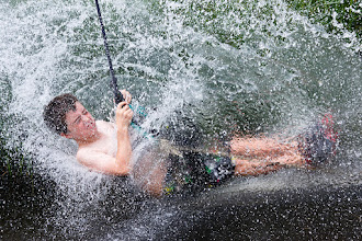 Photo: Here's a fun one, taken on a trip back to New Zealand earlier this year. This is a cousin of mine on a flying fox just as he hits the unavoidable pond at the bottom :)