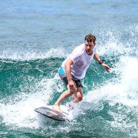 Oahu Blue by Justin Quinn - Sports & Fitness Surfing ( ocean, surf, hawaii oregon state 6, oahu, waikiki )