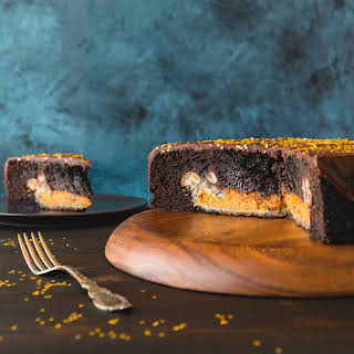 Chocolate Cake with Pumpkin Pie Surprise.