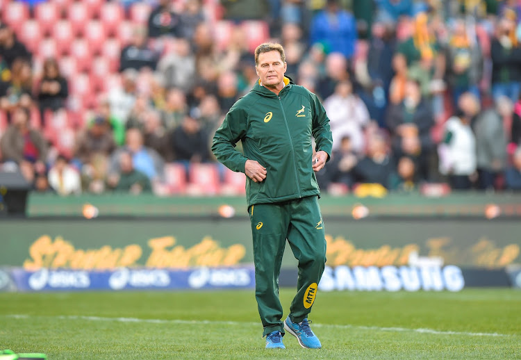 Springboks head coach and SA Rugby director of rugby Rassie Erasmus during the Castle Lager Rugby Championship match between South Africa and Australia at Emirates Airline Park in Johannesburg on July 20 2019.