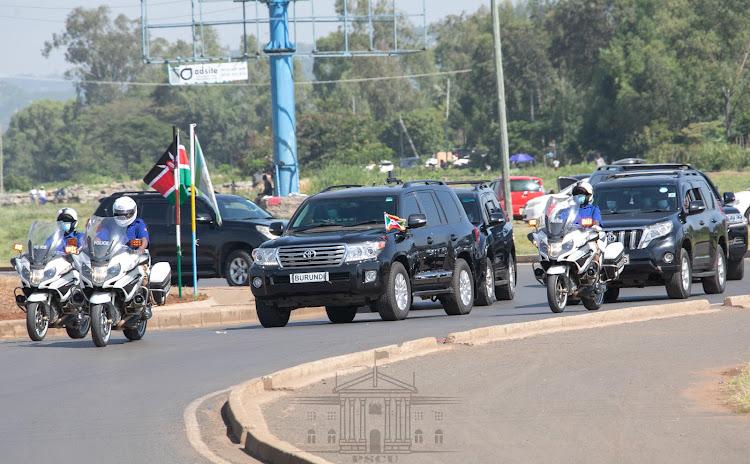 The convoy of Burundian President Evariste Ndayishimiye in Kisumu on May 31, 2021.