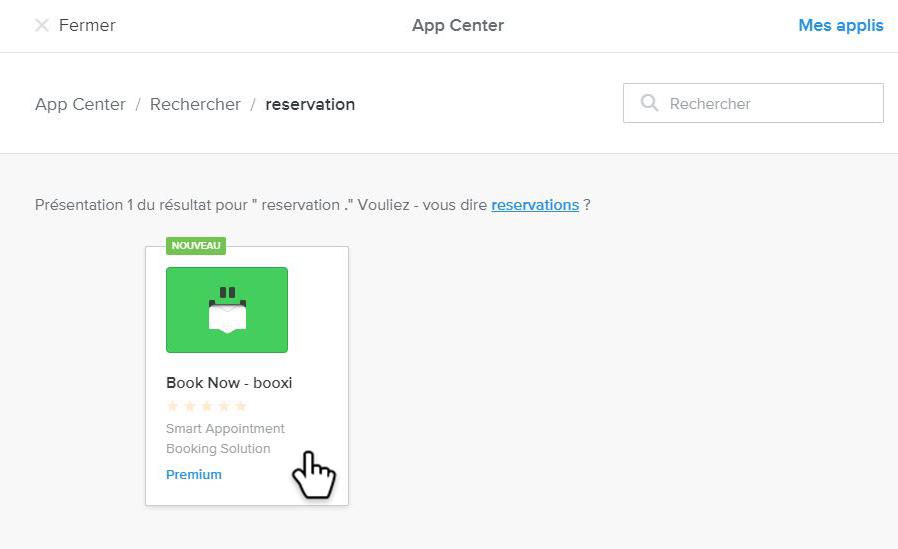 application de réservation sur Weebly
