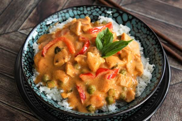 Panang Curry Over Rice.