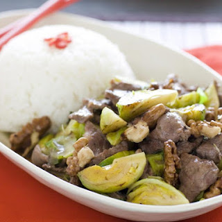 Stir Fried Beef with Brussels Sprouts and Walnuts.