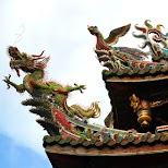 Chinese decorations at longshan temple in Taipei, T'ai-pei county, Taiwan