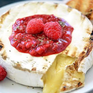 Grilled Brie Cheese with Raspberries.