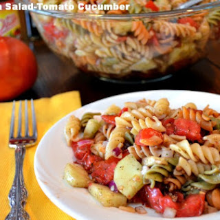 Easy Pasta Salad-Tomato Cucumber Balsamic