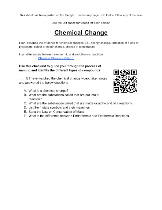 Chemical Change and Balancing Equations