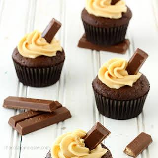 Kit Kat Cupcakes with Caramel Buttercream Frosting.