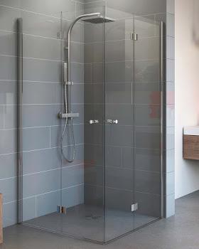 Accès d'angle avec portes pivotantes-pliantes, 80 et 80 cm ou 90 et 90 cm, 4 éléments
