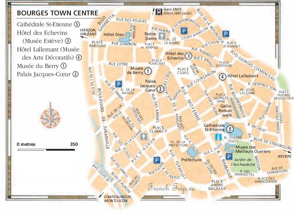 Карта Буржа Bourges (Бурж), Франция