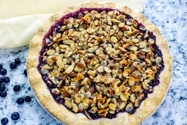 Blueberry Goat Cheese Pie With Crust Baked Until Golden Brown.