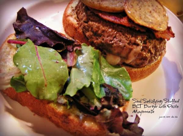 Soul Satisfying Stuffed Blt Burger W/pesto Mayo Recipe