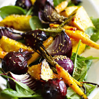 Roasted Root Vegetable Salad with Ginger Dressing.