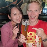 drinking Edelweiss beer with friends in Hong Kong in Hong Kong, , Hong Kong SAR