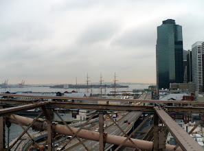 Photo: Looking south from the bridge into New York Harbor where a four-masted sailing vessel is berthed. http://en.wikipedia.org/wiki/New_York_Harbor