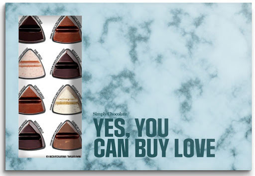 Yes You Can Buy Love – chokladask 24 bitar – Simply Chocolate