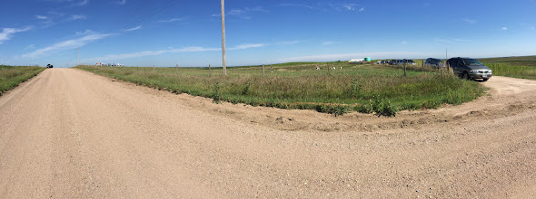 Photo: Corner of the pasture from which we will view the eclipse. Grand Island Road is on the left; farm road where we parked is on the right. We are just east of Nebraska State Highway 10. (Larry's photo)