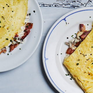 Omelet With Bacon, Mushrooms, and Ricotta.