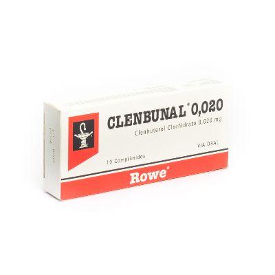 Clenbuterol Clenbunal 0,02 Mg X 10 Comprimidos Rowe 0,02 mg x 10 Comprimidos