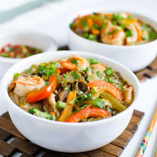 Asian Soba Noodle Soup With Shrimp & Vegetables.