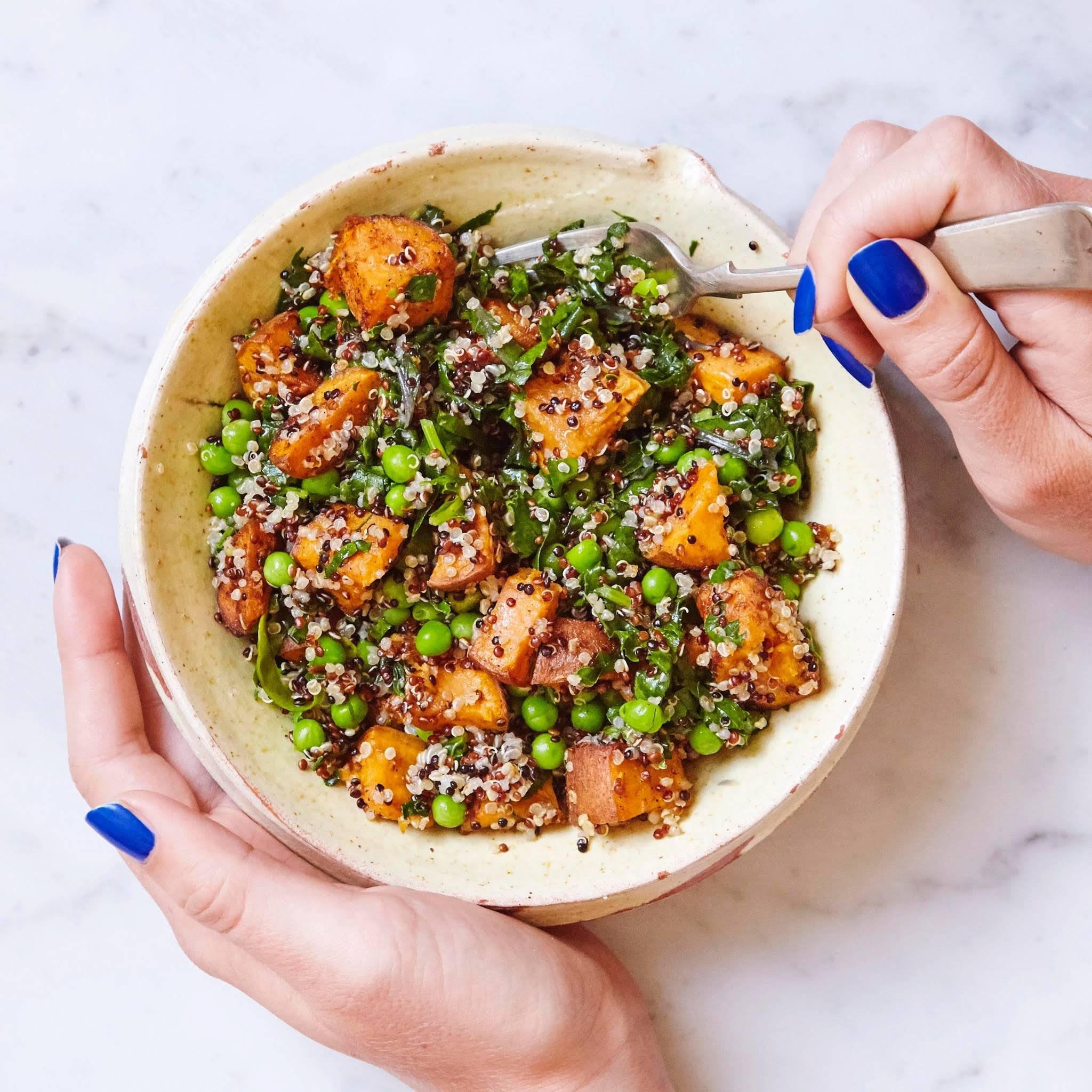 Quinoa, Sweet Potato, Pea And Kale Bowl