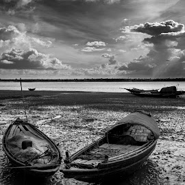 Boat Brothers by Ritwik Ray - Landscapes Travel ( monochrome, cloudscape, boats, river, landscape )