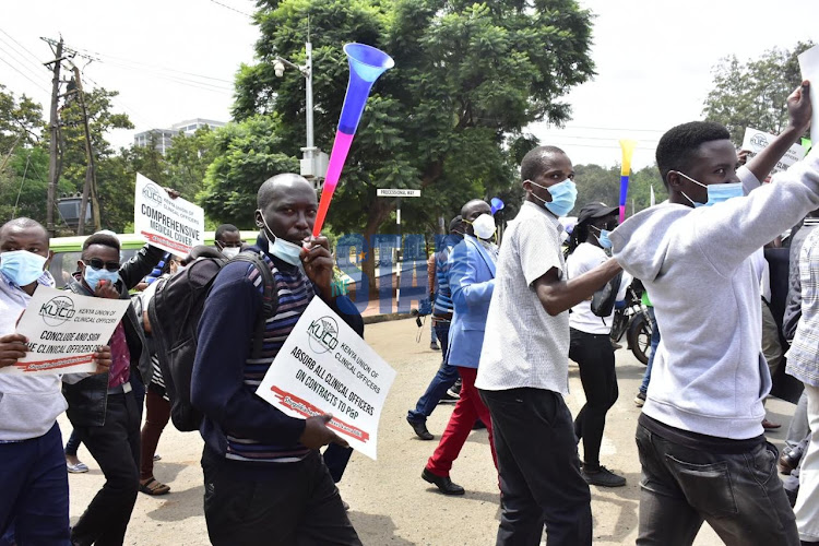 Frontline workers lead by Kenya Union of Clinical officers demonstrate due to unsigned return to work document on January 11,2021 at COG offices in Westlands./ MERCY MUMO