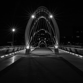 SEAFARER BRIDGE by Eliza Jane - Buildings & Architecture Bridges & Suspended Structures ( night photography, melbourne, crown, simple, sea, quiet, travel, bridge, light, walk, river, city )