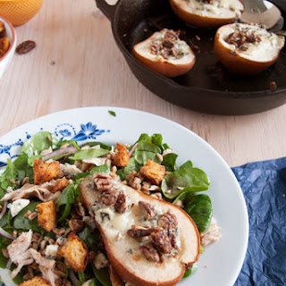 Roasted Gorgonzola Pears With Farro Salad