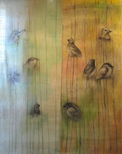 """Photo: Joanna Dobranowska """" W zielonym lesie..."""" tkanina nicielnicowa , malowanie na tkaninie (zasłony)"""