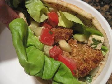 Panko Coated Falafal And Greek Salad Pitas Recipe