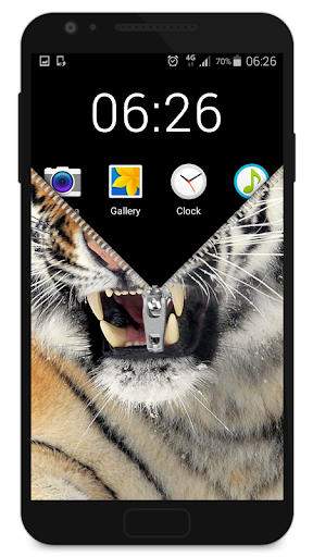 無料休闲Appのジッパーロック画面の虎|HotApp4Game