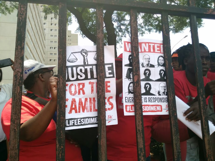 Families protest for justice at the Life Esidimeni hearings.