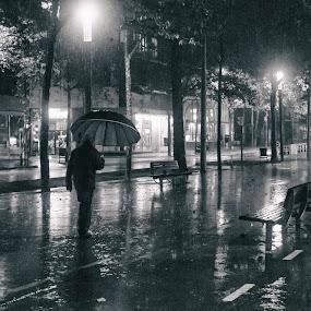 Walk in the rain by Torsten Funke - City,  Street & Park  Street Scenes ( stroll, street, city life, night, street scene, barcelona, walk, street scenes, rain, street photography )