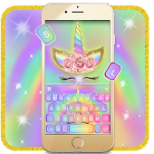 Rainbow Pink Rose Unicorn Keyboard Theme Icon