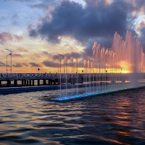 SUNSET AT NEW ICON SURABAYA CITY by Gandi Tan - City,  Street & Park  Fountains (  )