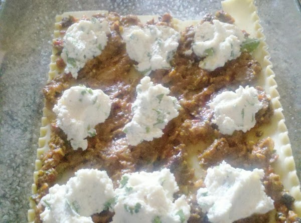 Dallop the ricotta mixture over the veggie puree.
