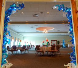 Photo: Two lighted half arch balloon sculptures at entrance to the Under the Sea themed Grand Haven High School Prom 2011 at Trillium Banquet Hall, Spring Lake, Michigan (Awesome place!)