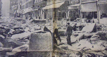 Photo: The Mad River tore through Winsted's Main Street, leaving nothing but rubble in its wake.